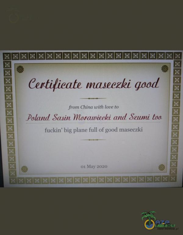 Certificate maseczki qaod imaurr dim wile-Hag ti Balan Sai Hioranieeki art Sztwni ton fm Lim kry priarie-Tull ol góńcl runzGL1 una złem muaziui