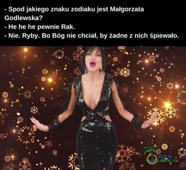 - Spod jakiego znaku zodiaku jest Małgorzata Godlewska? - He he he pewnie Rak. - Nie. Ryby. Bo Bóg nie chciał, by żadne z nich śpiewało.