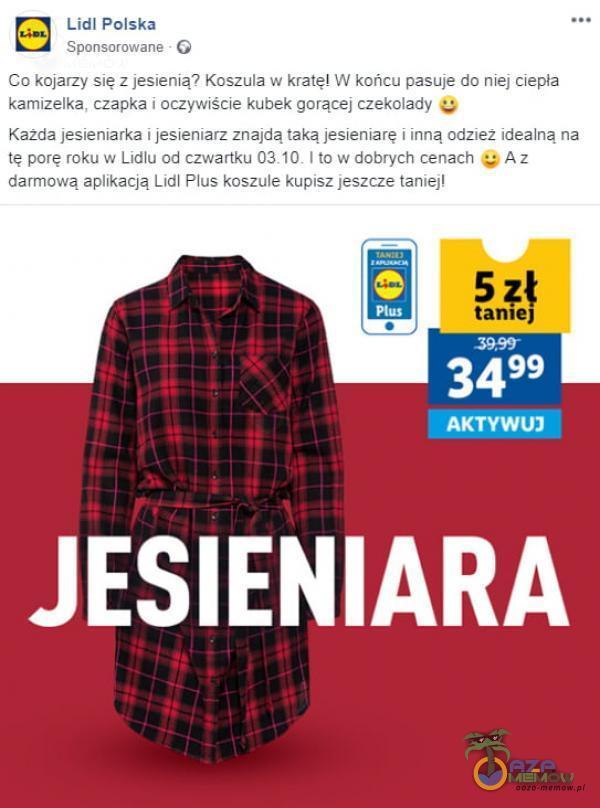 Lidl Polska Sponsorowane G Co kojarzy się z jesienią? Koszula w kratę! W końcu pasuje do niej ciepła kamizelka, czapka i oczywiście kubek...