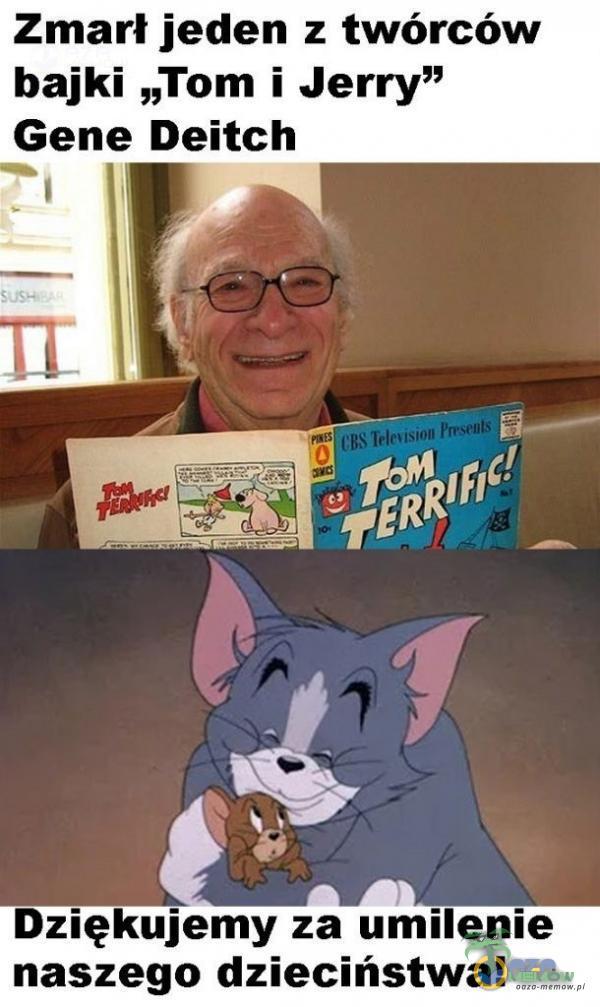 """Zmarł jeden z twórców bajki """"Tom i Jerry"""" Gene Deitch Dziękujemy za umilenie naszego dzieciństwa!"""