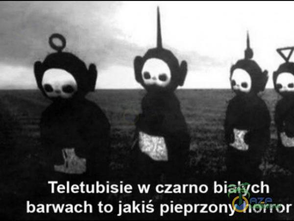 Teletubisie w czarno bialych barwach to jakiś pie***ony horror