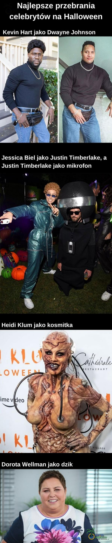 Najlepsze przebrania celebrytów na Halloween Kevin Hart jako Dwayne Johnson Jessica Biel jako Justin Timberlake, a Justin Timberlake jako mikrofon - ÎAMIGOS Heidi Klum jako kosmitka ESTAVRANT • OWE imev eo iAGE Dorota Wellman jako dzik