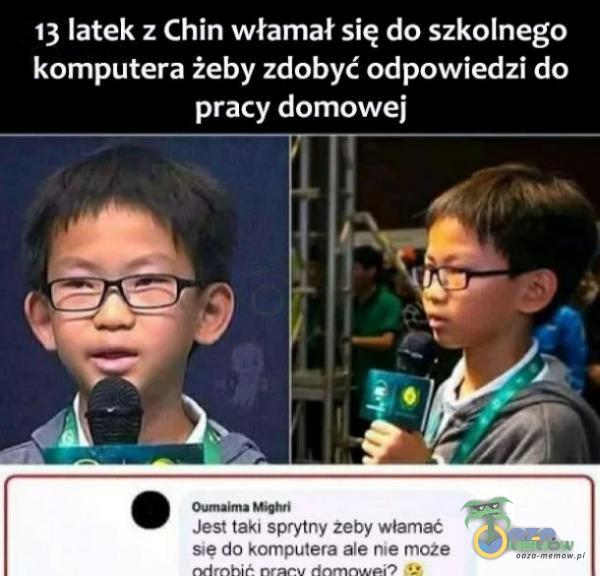 13 latek ;. Chin włamał się do szkolnego komputera żeby zdobyć odpowiedzi do pracy domowej
