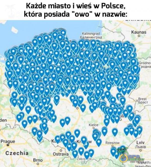Każde miasto i wieś w Polsce. która Fasada ?uwu w nazwie: