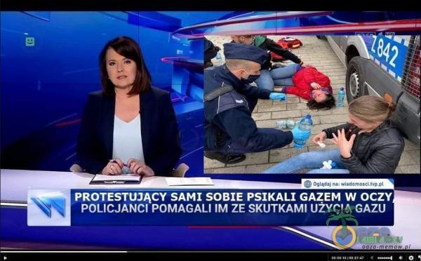 PROTESTUJĄCY SAMI SOBIE PSIKALI GAZEM W OCZY, POLICJANCI POMAGALI IM ZE SKUTKAMI UŻYCIA GAZU