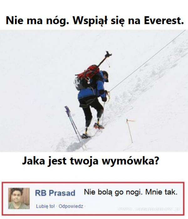 Nie ma nóg. Wspiął się na Everest. Jaka jest twoja wymówka? RB Prasad Nie bolą go nogi. Mnie tak. Lubię tol Odpowiedz