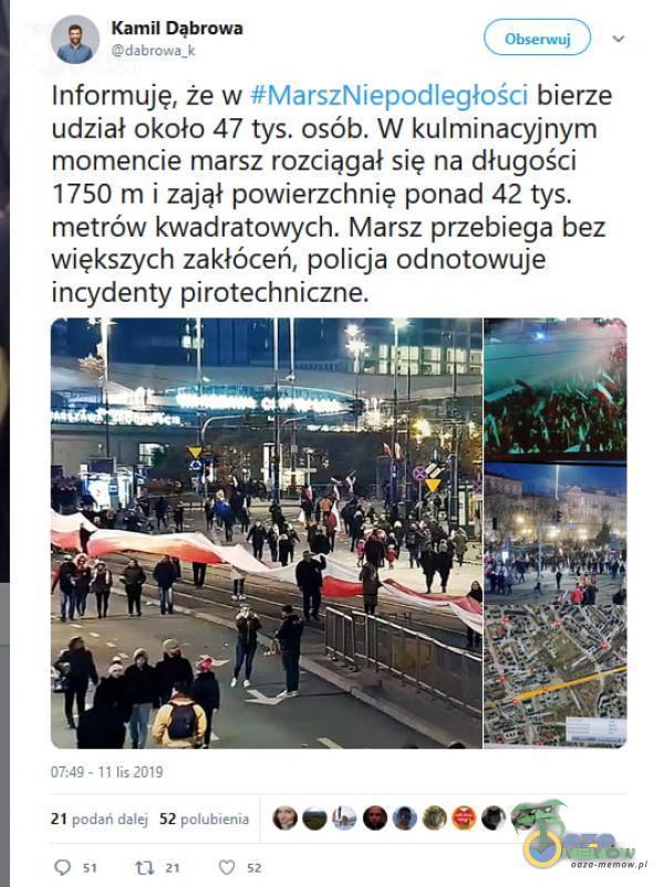Kamil Dąbrowa Obserwuj v Informuję, że w #MarszNiepodległości bierze udział około 47 tys. osób. W kulminacyjnym momencie marsz rozciągał się na długości 1750 m i zajął powierzchnię ponad 42 tys. metrów kwadratowych. Marsz przebiega...