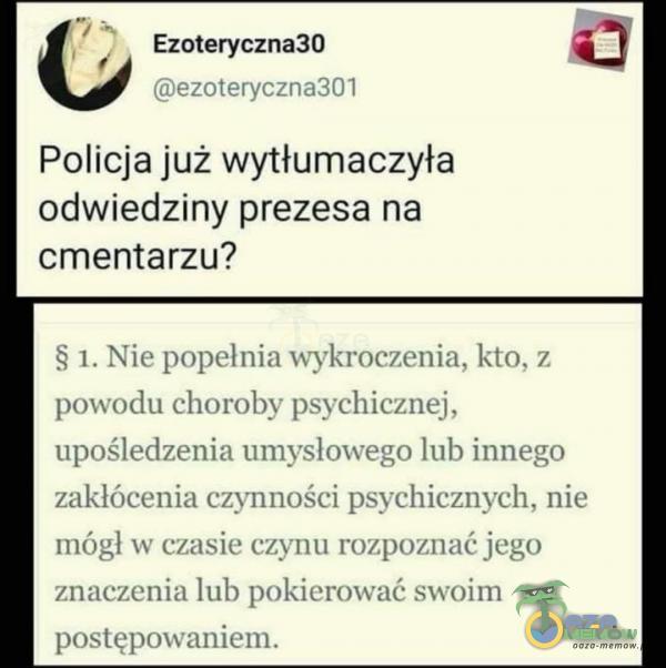 p Ezoteryczna30 (BIĘZO terycznaj DI Policja już wytłumaczyła odwiedziny prezesa na cmentarzu? 1 Niepopelnia wykroczenia, kto, z powodu choroby psychicznej upośledzenia umysłowego lub innego zakłócenia czynności psychicznych, nie mógł w...