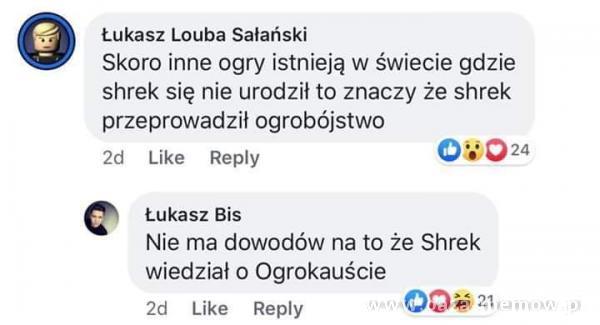 Łukasz Louba Sałański Skoro inne ogry istnieją w świecie gdzie shrek się nie urodził to znaczy że shrek przeprowadził ogrobójstwo 2d Like...