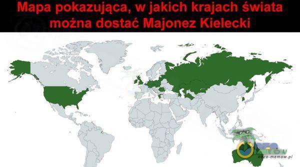 Mapa pokazująca, w jakich krajach świata można dostać Maionez Kielecki