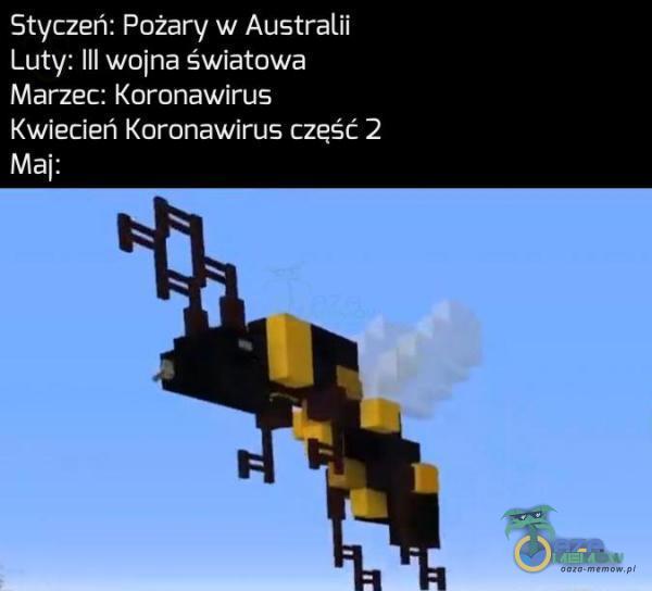 Styczeń: Pożary w Australii Luty: lil wojna światowa UEJr<==g Ge CNLSE) Kwiecień Koronawirus część 2 Maj: