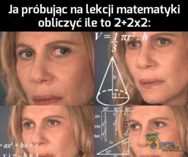 """Ja próbując na lekcii matematyki obliczyć ile to 2+2x21 F"""" 3—4"""