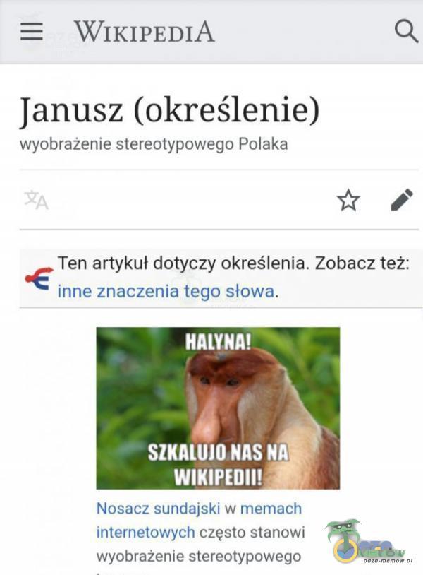 """W! K] PED] A Q Janusz (określenie) wyobrazenie stereotypowego Polaka i: :"""" Ten artykul dotyczy okveślenla. Zobacz też: hme znaczenia Iegn sl nwa, € HANNA! smutna nas « wmn-mm Nuke-Au) mil dulr kl W nnummnzh Il ńefl nl zh JWIyOh nagła..."""