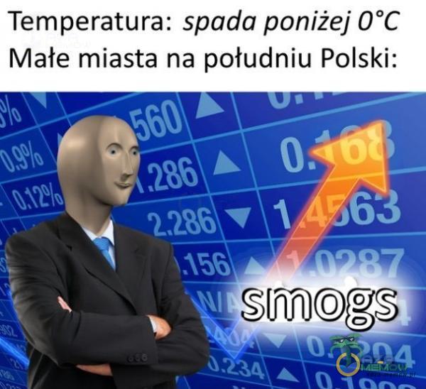Temperatura: spada poniżej O*C Małe miasta na potudniu Polski: = s -