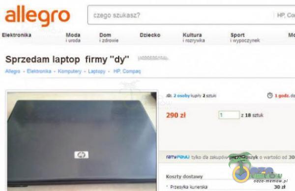 """allegro czego szui asz? Sprzedam laptop firmy """"df 290"""