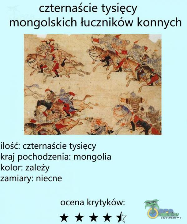 czternaście tysięcy mongolskich łuczników konnych ilość: czternaście tysięcy kraj pochodzenia: mongolia kolor: zależy zamiary: niecne ocena krytyków: * ****