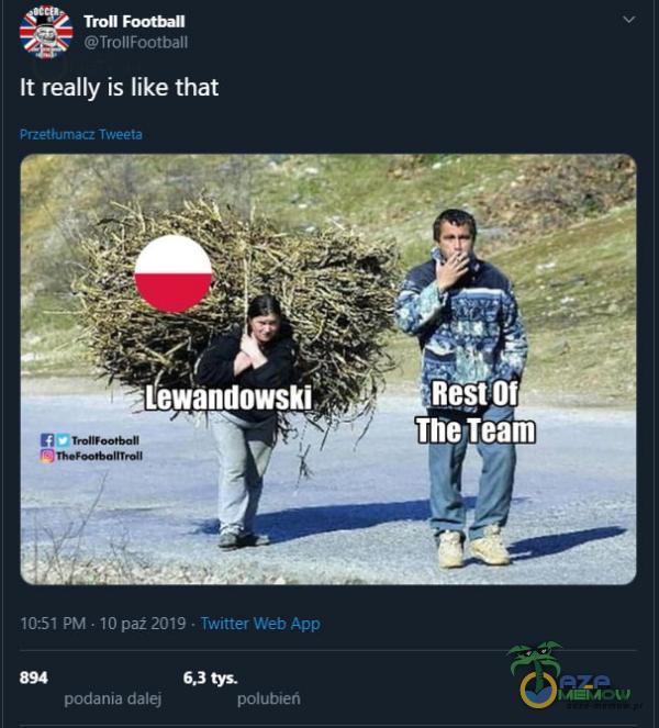 """Tron TrollFootball Ił really is like that Przet&umacz Tweeta """"Lewandowski 10:51 PM • 10 paż2019 • Twitter Web App tys. podania dalej polubień"""
