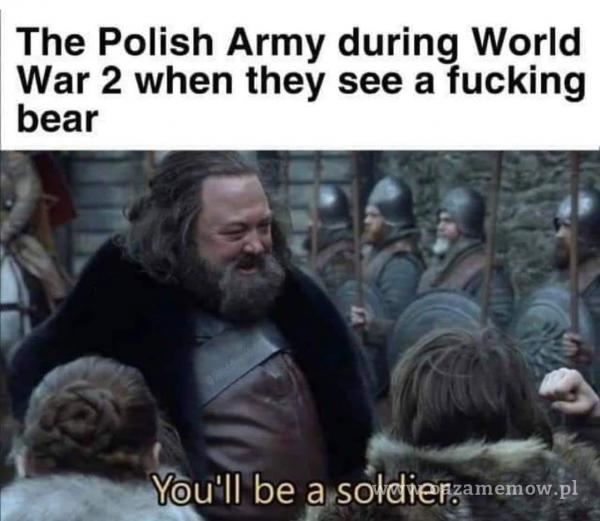The Polish Army during World War 2 when they see a fucking bear You'll be asoldier.