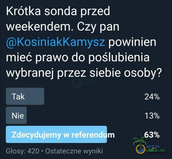 Krótka sonda przed weekendem. Czy pan KosiniakKamysz powinien mieć prawo do poślubienia wybranej przez siebie osoby? Tak Zdec du•em w referen Głosy: 420 • Ostateczne wyniki m 13% 63%