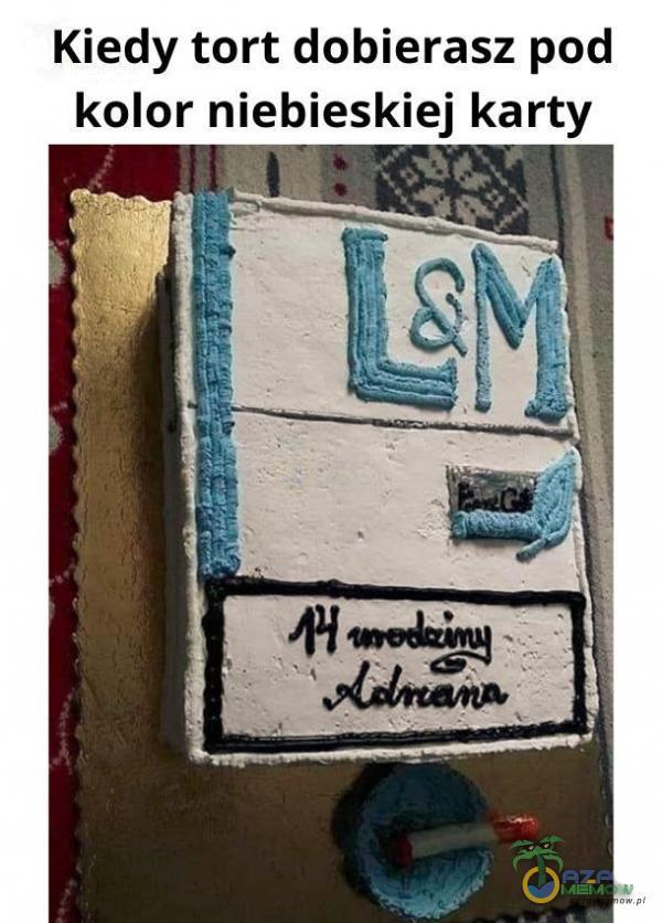 Kiedy tort dobierasz pod kolor niebieskiej karty ę Won