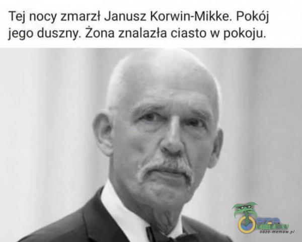 Tej nocy zmarzl Janusz Komin-Mikke. Pokój jego duszny. Zona znalazla ciasm w pckej u.