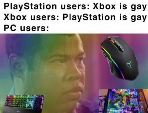 PlayStation users: Xbox is gay Xbox users: PlayStation is gay PC users;