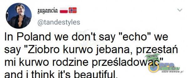"""gjónica wma HEJ iptitnGestyles In Poland we don t say echo we say Ziobro k***o j***na, przestań mi k***o rodzine prześladować"""" and i think i a bhozrtiful"""