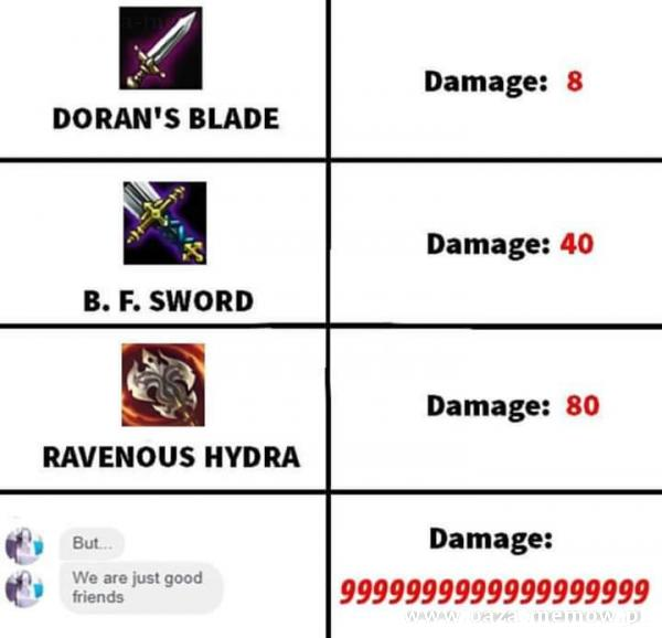 Damage• . 40 B. F. SWORD Damage: 80 RAVENOUS HYDRA Damage: DORAN'S BLADE But 8 We are just good friends Damage: 9999999999999999999