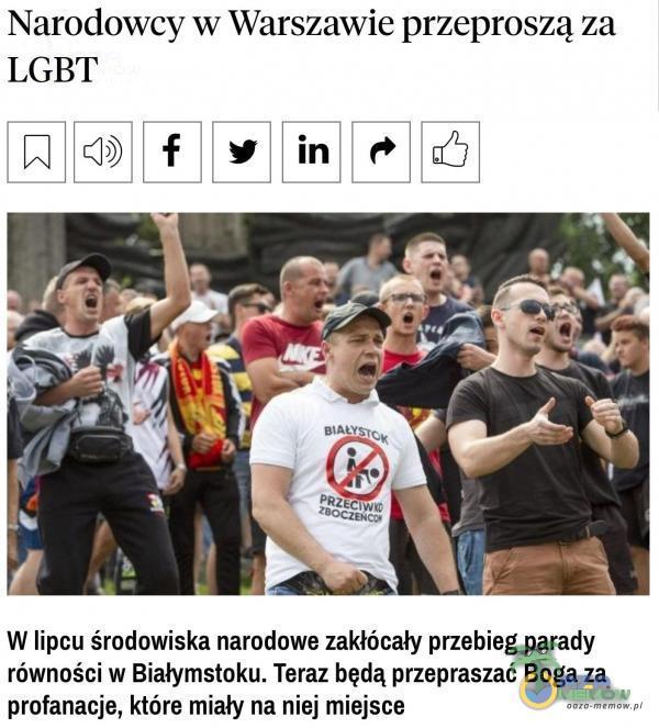 Narodowcy w Warszawie przeproszą za LGBT PRZECIW« W lipcu środowiska narodowe zakłócały przebieg parady równości w Białymstoku. Teraz będą...