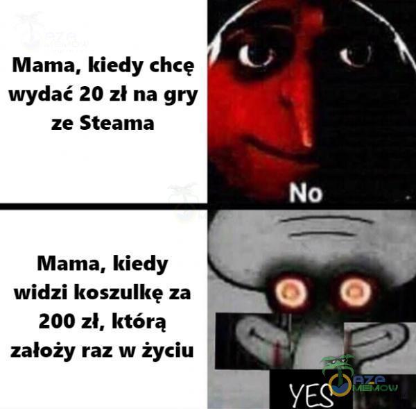 Mama, kiedy chcę wydać 20 zł na gry ze Steama Mama, kiedy widzi koszulkę za 200 zł, którą założy raz w życiu No